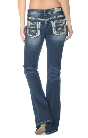 Women's Junior Fit Plaid Pocket Boot Cut Jeans
