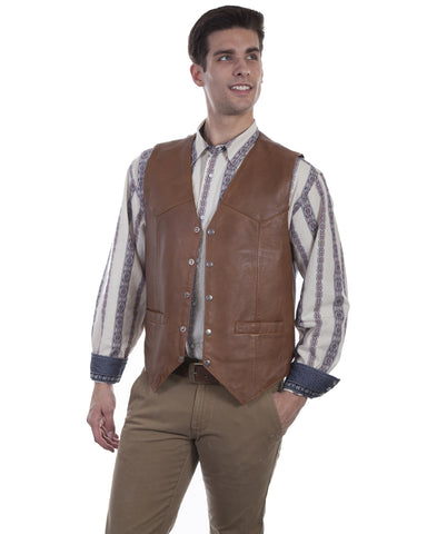 Men's Lambskin Suede Vest - Saddle Tan