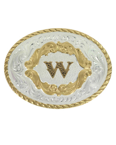 Engraved Initial W Small Oval Buckle