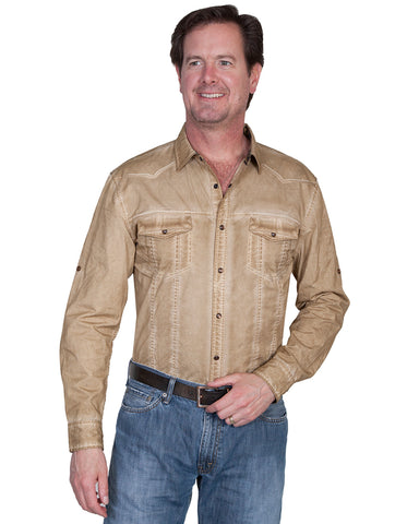 Men's Tonal Wash Down Western Shirt