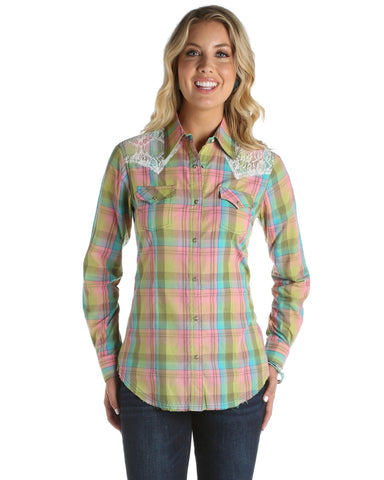 Womens Lace Plaid Long Sleeve Western Shirt