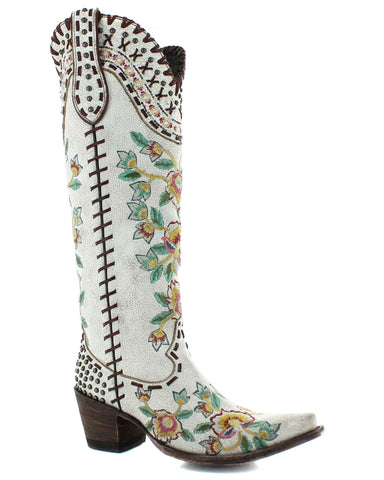 Womens Almost Famous Embroidered Boots - White