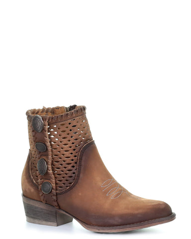 Womens Cutout Studded Ankle Boots - Brown