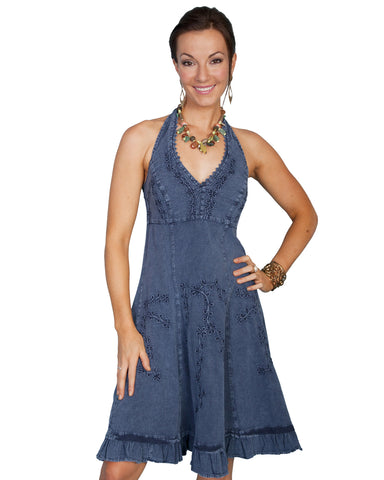 Womens Knee Length Halter Dress - Blue