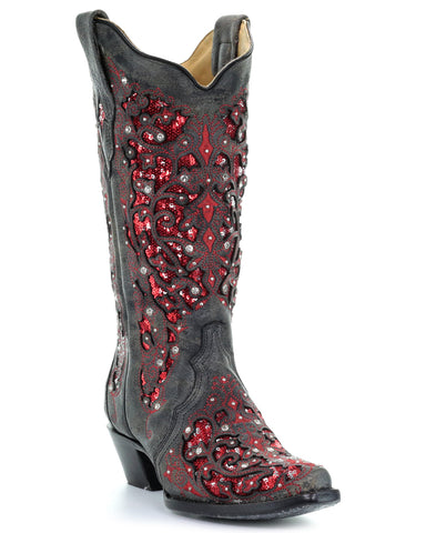 Womens Crystal Inlay Glitter Boots