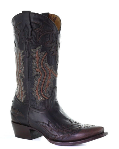 Men's Embroidery Overlay Western Boots
