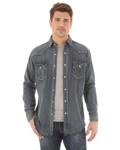 Men's Slub Denim Western Shirt