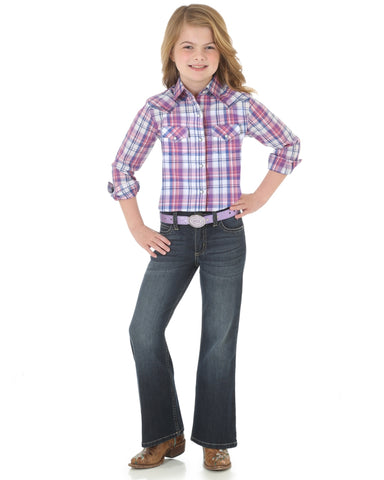 Girls Plaid Long Sleeve Western Shirt