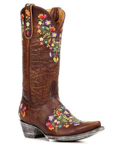 Womens Sora Floral Embroidered Boots