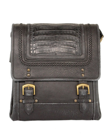 Men's Woven Caiman Leather Bag - Black