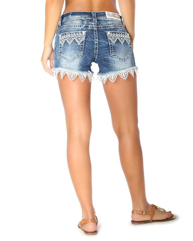 Womens Lace Trim Embroidered Shorts