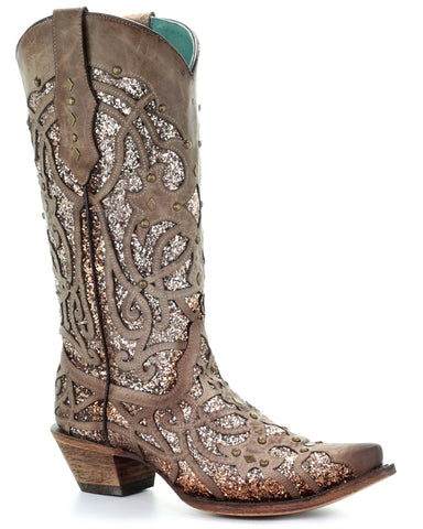 Womens Glitter Leather Overlay Boots - Orix