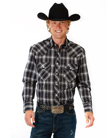 Men's Classic Long Sleeve Plaid Western Shirt - Silver