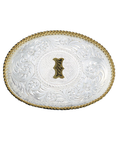 Engraved Initial I Medium Oval Buckle