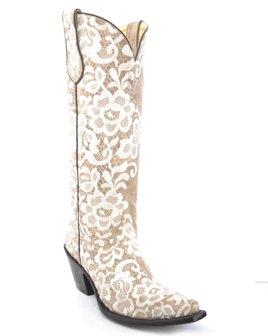 Women's Floral Lace Embroidered Boots