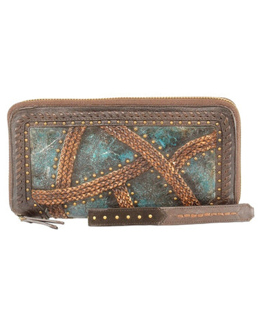 Women's Woven With Studs Wallet - Turquoise