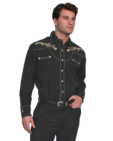 Mens Gold Embroidered Western Shirt