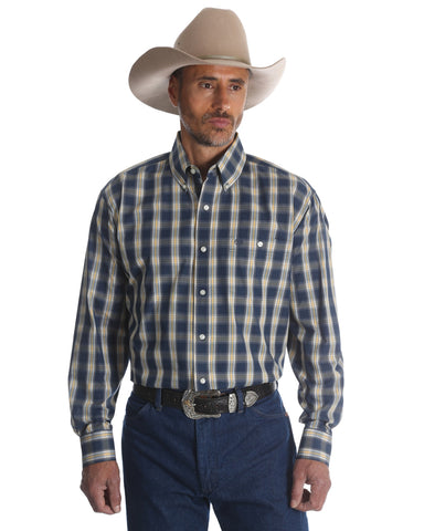 Mens Classic Plaid Button Down Western Shirt