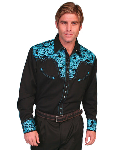 Mens Floral Embroidered Western Shirt - Turquoise