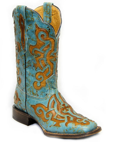 Women's Iron Cross Square Toe Boots - Turquoise