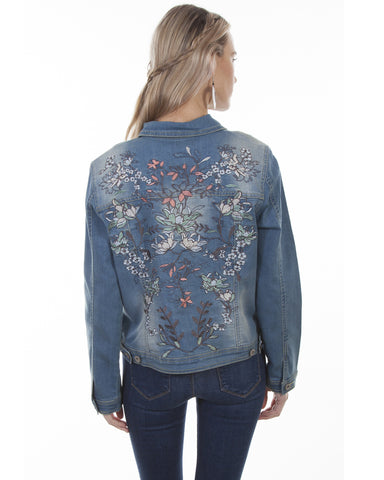 Women's Floral Embroidered Denim Jacket