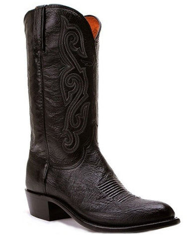 Mens Smooth Ostrich & Calf Boots - Black
