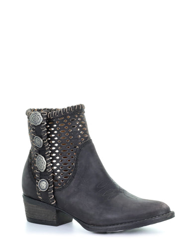 Womens Cutout Studded Ankle Boots - Black