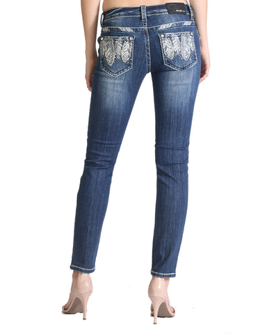 Womens Feather Pocket Skinny Jeans