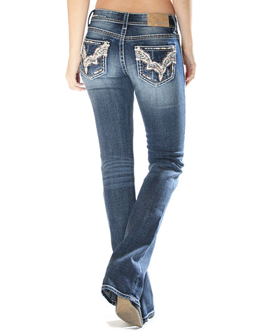 Women's Stitched Junior Boot Cut Jeans
