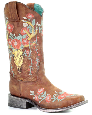 Women's Deer Skull & Flowers Square-Toe Boots
