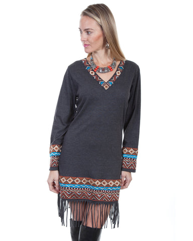 Women's Embroidered Fringe Dress