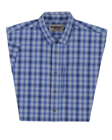 Mens Advanced Comfort Plaid Short Sleeve Western Shirt - Light Blue