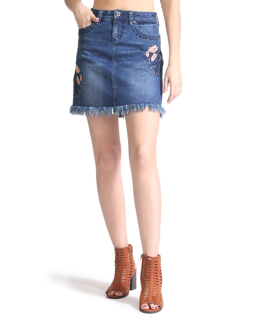 f8bf7c40d8 Free shipping over $79, easy returns, and exchanges. Women's Dark Wash  Floral Denim Skirt ...