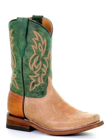 Kid's Two Toned Western Boots - Green