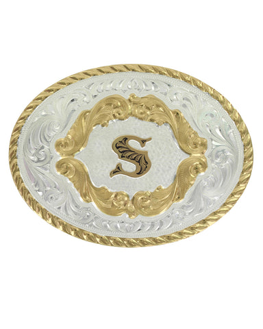 Engraved Initial S Small Oval Buckle