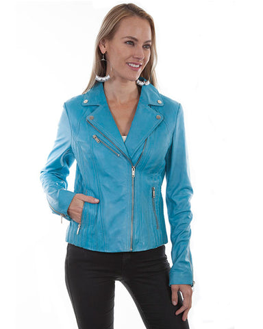 Women's Lambskin Motorcycle Leather Jacket - Sky
