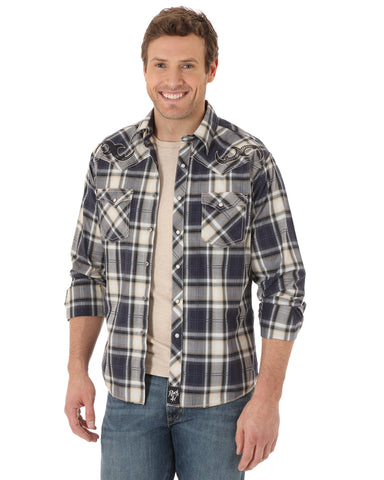 Mens Rock 47 Western Plaid Long Sleeve Shirt - Black