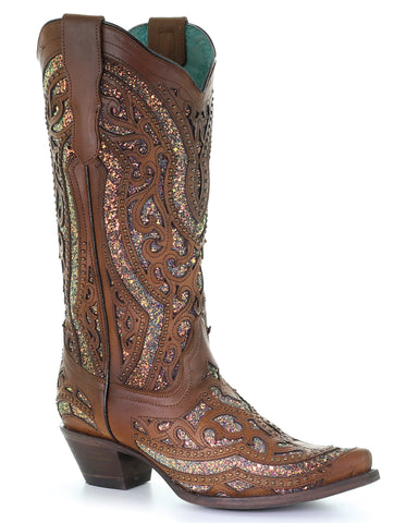 dfce36358f0 Women s Sequin Inlay Western Boots - Honey