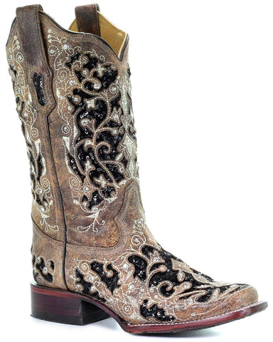 Women's Sequin Inlay Floral Embroidered Boots