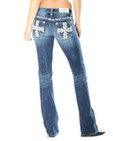 Womens Cross Leather Junior Boot Cut Jeans