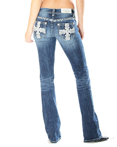 Women's Cross Leather Junior Boot Cut Jeans