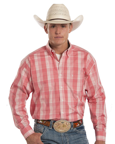 Mens Tuf Cooper Plaid Western Shirt - Pink