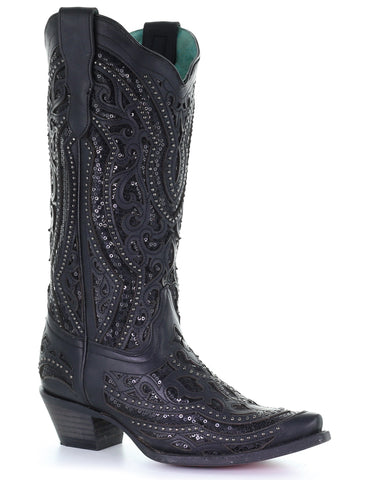 Women's Sequin Inlay Western Boots - Black