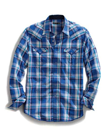 Mens Plaid Snap Up Long Sleeve Western Shirt