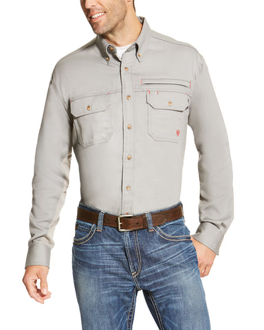 Men's Fire Resistant Vented Long Sleeve Work Shirt - Silver