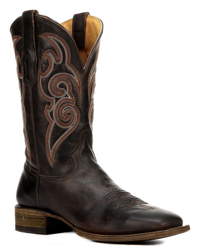 Mens Embroidered Boots - Chocolate