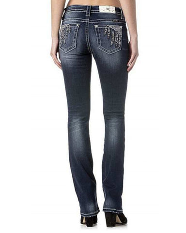 Women's Feather Pocket Slim Boot Cut Jeans