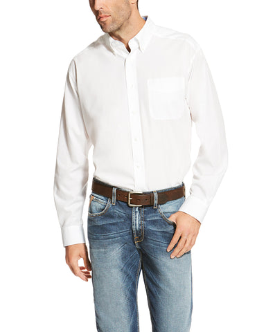 Mens WF Solid Long Sleeve Western Shirt - White
