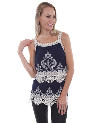 Womens Crochet & Lace Tank Top
