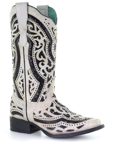 Women's Sequin Inlay Western Boots - White